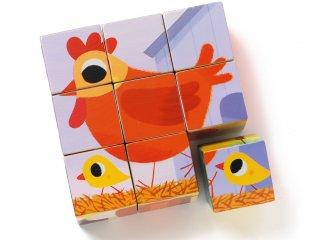 Fa kocka kirakó, Háziállatok (Djeco, 1950, 6 féle, 9 db-os puzzle, 2-5 év)