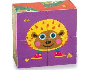 Fa kocka kirakó, városlakók (Oops, állatos fajáték, 1-3 év)