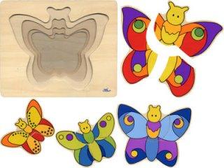 Fa pillangós kirakó (Goki, többrétegű puzzle, 2-5 év)