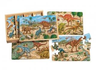 Fa puzzle, Dinoszauruszok (TS Shure, 0992, 4 féle kép, 24 db-os puzzle, 3-7 év)