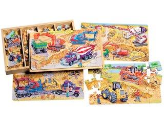 Fa puzzle: Építkezés (TS Shure, 0990, 4 féle kép, 24 db-os puzzle, 3-7 év)
