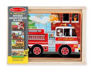 Fa puzzle készlet, járműves (3794, Melissa Doug, 4x12 darabos kirakó, 2-5 év)