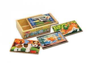 Fa puzzle készlet kis kedvencek, Melissa&Doug 4x12 darabos kirakó (2-5 év)