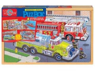 Fa puzzle: Tűzoltók (TS Shure, 0998, 4 féle kép, 24 db-os puzzle, 3-7 év)