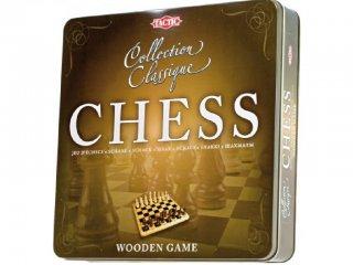 Fa sakk, fém dobozban (Tactic, kétszemélyes stratégiai társasjáték, 6-99 év)