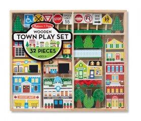 Fa városépítő szett (Melissa&Doug, 32 db-os kreatív építős játék, 3-7 év)