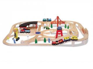Fa vonat készlet 132 db, szerepjáték (MD, 701)