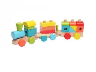 Fa vonat készlet, 14 db-os építőjáték (2-4 év)