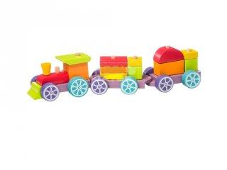 Fa vonat készlet, 15 db-os építőjáték (2-4 év)