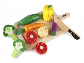 Fából készült szeletelhető zöldségek (Tidlo, 0215, szerepjátékhoz fajáték, 2-5 év)