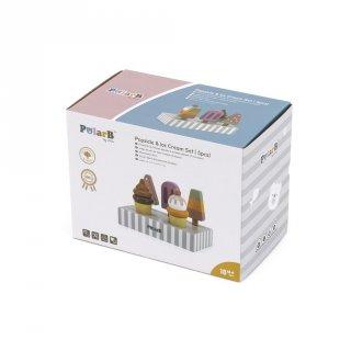 Fagylaltkészlet 5 db fagyival és állvánnyal, fa konyhai szerepjáték (FK, 3-7 év)