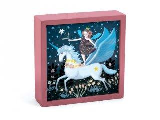 Falikép és éjszakai fény, Unikornis (Djeco, 3484, kapcsolós gyerekszoba dekoráció, 0-12 év)