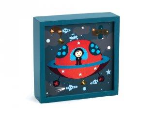 Falikép és éjszakai fény, Világűr (Djeco, 3486, kapcsolós gyerekszoba dekoráció, 0-12 év)