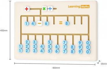 Falra szerelhető matatófal, logikai játék fából - négy alapművelet (FK, 3-8 év)
