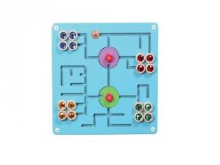 Falra szerelhető matatófal, logikai játék fából - útvesztő kincsekkel (FK, 4-8 év)