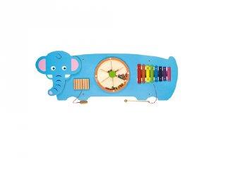 Falra szerelhető matatófal, logikai játék fából, Elefánt (FK, 3-6 év)