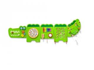 Falra szerelhető matatófal, logikai játék fából, Krokodil 187x61 cm (FK, 1,5-5 év)