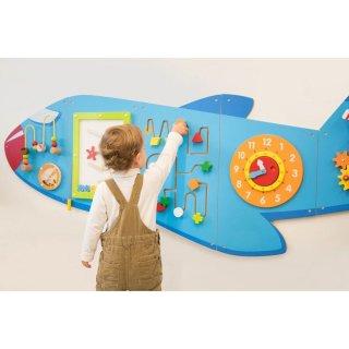Falra szerelhető matatófal, logikai játék fából, Repülőgép 180x66 cm (FK, 1,5-5 év)