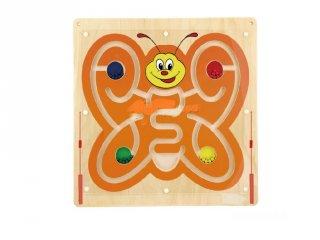 Falra szerelhető matatófal, mágneses golyóvezető pillangós, fa logikai játék (3-7 év)