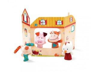 Farm bábszínház ujjbábokkal (Lilliputiens, 86619, bábszínház ujjbábokkal, 0 hó-2 év)