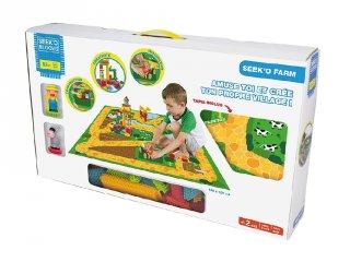 Farm játszószőnyeg figurákkal és építőelemekkel, 82 db-os kreatív tüske építőjáték (6011Sycomore, 1,5-5 év)