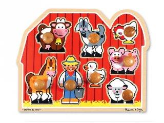 Farm, puzzle fogantyúval, fa készségfejlesztő játék (MD, 13391, 1-3 év)