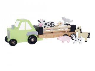 Farm traktor állatokkal, fa bébijáték (Jabadabado, 18 hó-3 év)