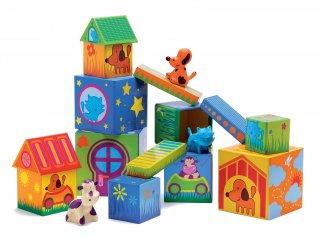 Farmos építőjáték, Cubanimo (Djeco, 9102, állatos kreatív fa bébijáték, 0-2 év)
