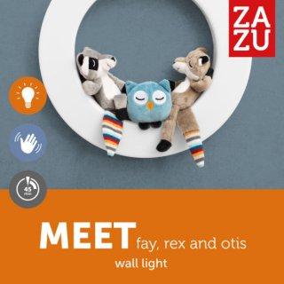Fay, Rex és Otix fali lámpa mágneses plüssfigurákkal, gyerekszoba kiegészítő (ZA)