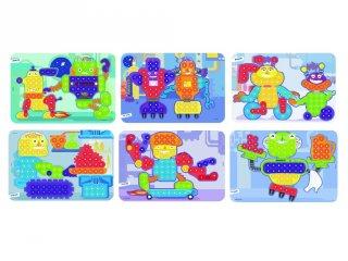 Feladatlapok 15 mm-es pötyi játékhoz, Robotos (Miniland, 31863, kreatív játék, 3-6 év)