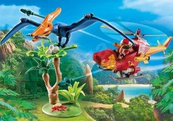 Felderítő helikopter pterodactylus dínóval, Playmobil szerepjáték (9430, 4-10 év)