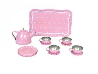 Fém teáskészlet bőröndben pasztell rózsaszín, szerepjáték (Jabadabado, 3-7 év)
