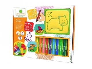 Festő és színező rajzsablonnal, kreatív szett (Sycomore, 3-7 év)