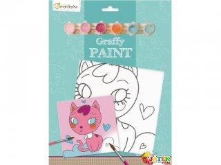 Festővászon, Cica szívecskékkel (AM, kreatív színező füzet, 5-10 év)