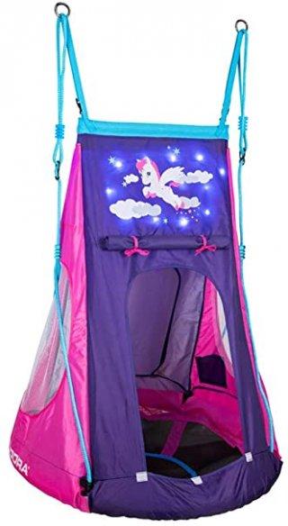 Fészekhinta led fényes sátorral Póni, mozgásfejlesztő játék