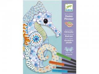 Filctollas színező, Motif art (Djeco, 8648, kreatív készlet, 7-13 év)