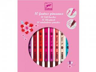 Filctollecset lányos színekben (Djeco, 8802, 10 db-os kreatív készlet, 5-12 év)