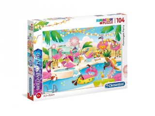 Flamingó party puzzle, 104 db-os kirakó (CLEM, 6-8 év)