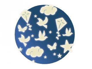 Fluoreszkáló falmatrica, Az égen (Djeco, 4590, gyerekszoba dekoráció)