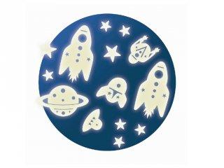 Fluoreszkáló falmatrica, Űrutazás (Djeco, 4591, gyerekszoba dekoráció)