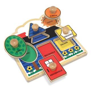 Fogantyús, geometriai formás formaberakó, Házikó (Melissa&Doug, bébi fajáték, 0-2 év)