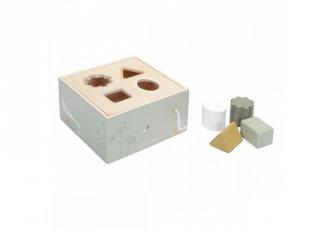 Formabedobó kocka olivazöld, Little Dutch fa készségfejlesztő játék (7024, 1-3 év)
