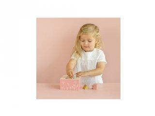 Formabedobó kocka pink, Little Dutch fa készségfejlesztő játék (7022, 1-3 év)
