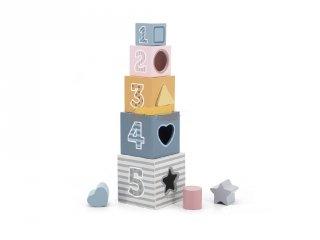 Formabedobó torony, fa készségfejlesztő játék (2-5 év)