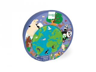 Formadobozos puzzle A világ, 45 db-os kirakó (Scratch, 3-6 év)
