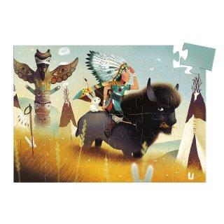 Formadobozos puzzle Tatanka az ifjú indián, Djeco 36 db-os kirakó (7224, 3-5 év)