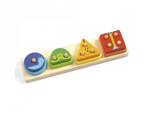 Formaillesztő, 1, 2, 3, 4, Basic (Djeco, 6203, fa készségfejlesztő játék, 1-3 év)