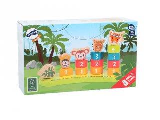 Formarakosgató játék Dzsungel, fa készségfejlesztő bébijáték (LEG, 1-3 év)
