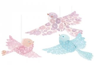 Függődísz 3D, Csillámló madarak (Djeco, 4958, 3 db-os szobadekoráció)