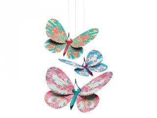 Függődísz 3D, Csillámló pillangók (Djeco, 4957, 3 db-os szobadekoráció)